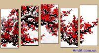 TSD-02 - Tranh sơn dầu hoa đào đẹp ghép bộ 5 tấm nghệ thuật
