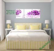 Tranh hoa hồng tím treo tường phòng ngủ lãng mạn AmiA 451