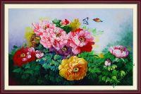 TSD156 - Tranh trang trí hoa mẫu đơn vẽ sơn dầu