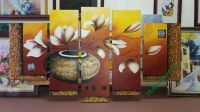 TSD116 - Mẫu tranh vẽ sơn dầu bình hoa mộc lan