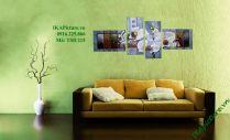 TSD 102 - Tranh sơn dầu ghép bộ phong lan hồ điệp