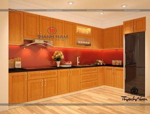 Tủ bếp gỗ sồi nga   D