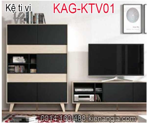 Kệ ti vi trang trí kết hợp KAG-KTV01