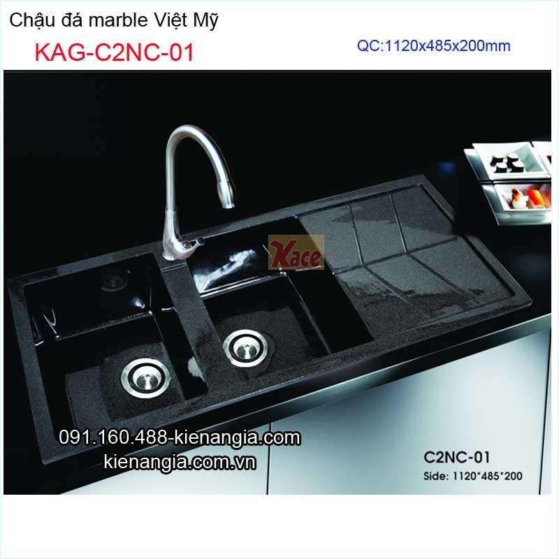 Chậu đá marble 2 hộc Việt Mỹ KAG-C2NC-01