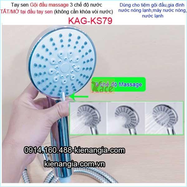 Vòi gội đầu massage 3 chế độ tắt mở đầu vòi KAG-KS79