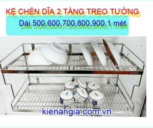 KỆ CHÉN DĨA 2 TẦNG INOX304 TREO TỦ BẾP GIÁ RẺ