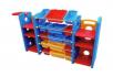 Kệ nhựa 3 khối, khối giữa 5 tầng, có khay quai xách. 2 khối 2 bên, mỗi khối 3 tầng