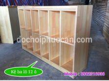 Kệ ba lô 12 ngăn bằng gỗ thông PA3412