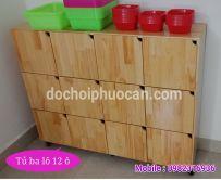 Tủ ba lô 12 ô gỗ thông PA3312