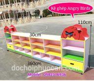 Kệ đồ chơi mầm non 4 khối Angry Bird PA3706