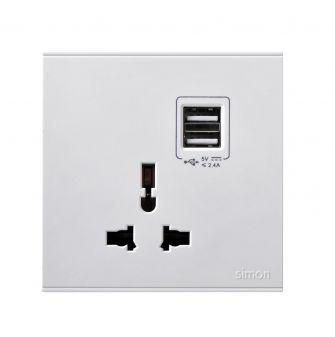 Ổ cắm đa tiêu chuẩn 10A & cổng sạc USB - 72E725