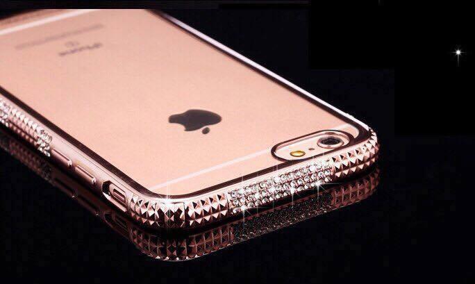 Ốp lưng iphone silicon ISEN đá 3 hàng IP5/6/6Plus