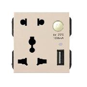 Hạt ổ cắm đôi 3 chấu + USB ArtDNA