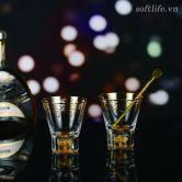 Bộ 2 Ly pha lê uống rượu mạnh đúc vàng lá 24K-S10