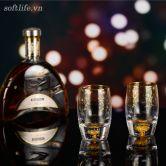 Bộ 6 cốc pha lê uống rượu mạnh đúc vàng lá 24K-S11