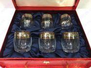 Bộ 6 cốc pha lê khảm vàng 24K viền hoa CT02