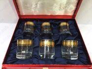 Bộ 6 cốc pha lê khảm vàng 24K viền hoa CT03