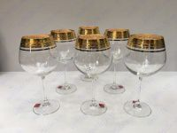 Bộ 6 ly vang khảm vàng 24k viền hoa LC01