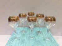 Bộ 6 ly vang khảm vàng 24k viền hoa LT01