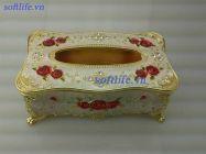 Hộp đựng khăn giấy hợp kim trắng vàng hoa đỏ