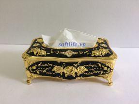 Hộp đựng khăn giấy hợp kim đen vàng