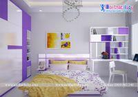 Phòng ngủ trẻ em đẹp sang với màu trắng tím - BBP143