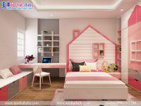 Nội thất phòng ngủ cổ tích đa màu sắc cho bé gái mã BBP134