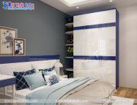 Phòng ngủ màu xanh năng động cá tính cho bé trai - BBT30