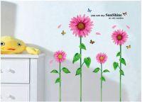 Decal hoa hướng dương màu hồng