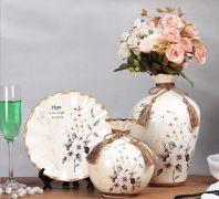Set bình và đĩa cao cấp ( hoa đào)