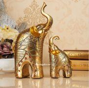Đôi voi mạ vàng ( mẫu mới)
