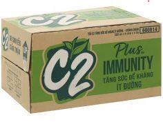 Thùng 24 chai trà xanh hương chanh C2 Plus Immunity ít đường 500ml