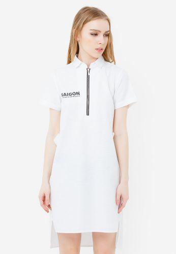 Đầm sơ mi TheBlueTshirt tà lệch màu trắng