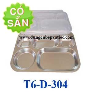 Khay đựng cơm inox 6 ngăn 304