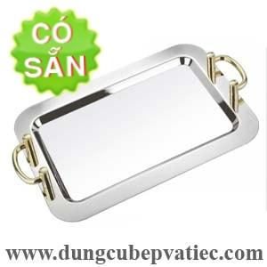 Khay inox phục vụ chữ nhật 2 quai tay nắm mạ vàng