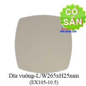 Dĩa vuông melamine màu nâu đá EX105-10.5