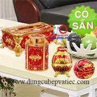 Combo trưng bày bàn tiếp khách đỏ mạ vàng cao cấp