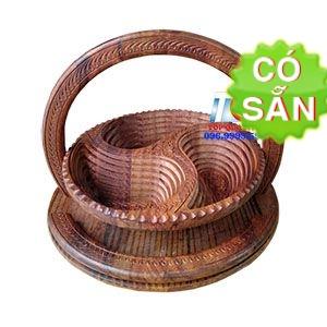 Khay đựng bánh mứt 3 ngăn bằng gỗ Sheesham KG3-35-DG
