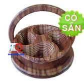 Khay gỗ đựng bánh mứt 4 ngăn bán nguyệt KG4B-35-DT