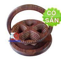 Khay đựng bánh mứt tết 4 ngăn trái tim bằng gỗ Sheesham KG4T-35-DT