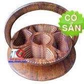 Khay đựng bánh mứt 5 ô bằng gỗ xếp KG5B-35-DT