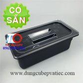 Khay GN nhựa mika đen 1/3x100