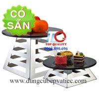 Chân đế inox vuông kê dĩa thức ăn trái cây