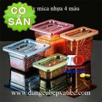 Khay GN mica nhựa màu có nắp 1/6 và 1/9