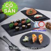Dĩa đá đen phẵng đựng sushi-steak