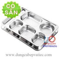 Khay cơm inox 304 6 ngăn có nắp inox