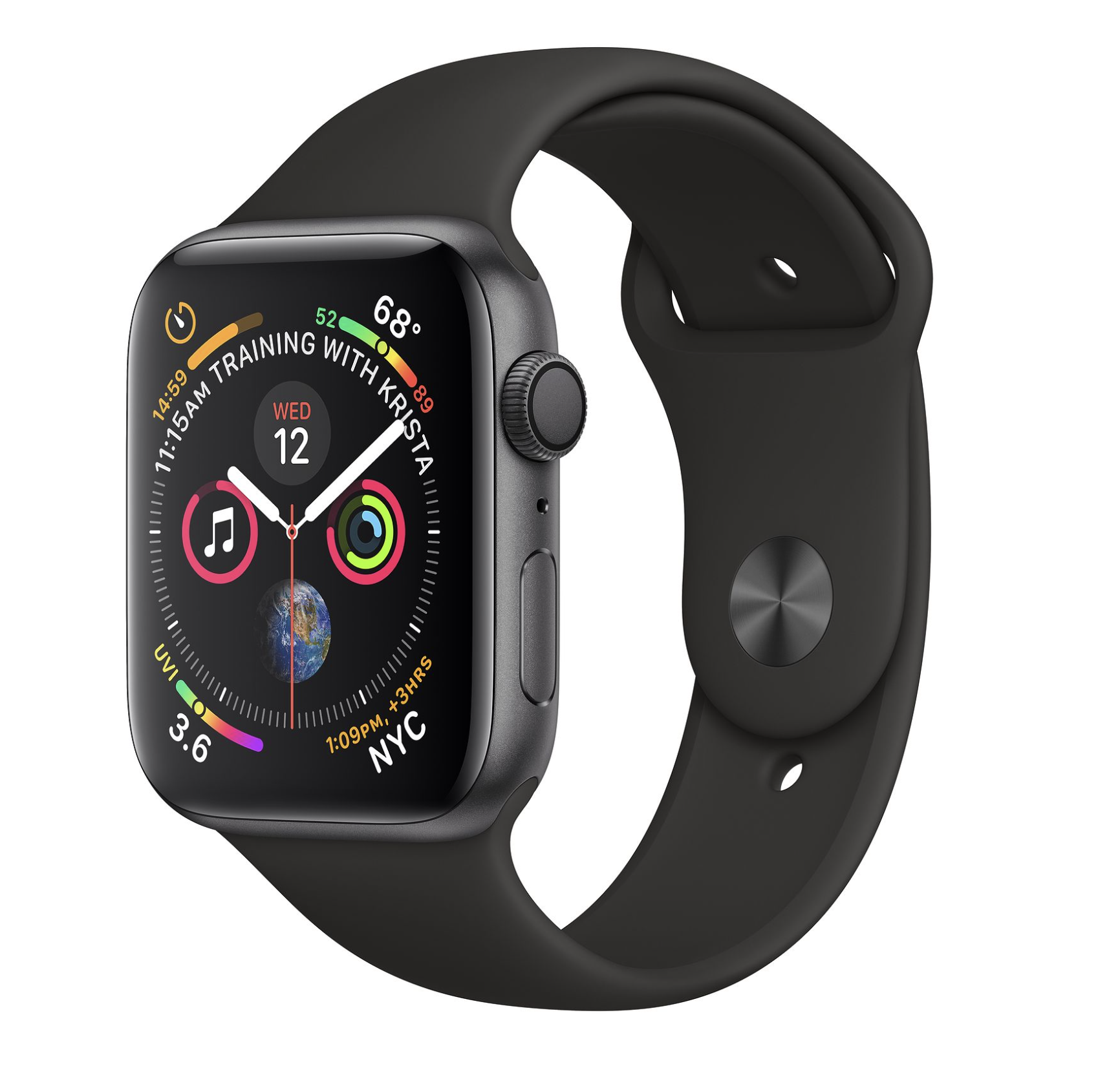 Apple Watch Series 4 40mm GPS Gray Aluminum Case Black Sport Band (CH/A)