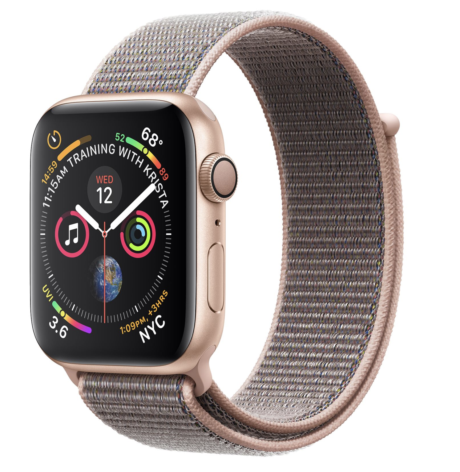 Apple Watch Series 4 40mm GPS Gold Aluminum Case Pink Sand Sport Loop (CH/A)
