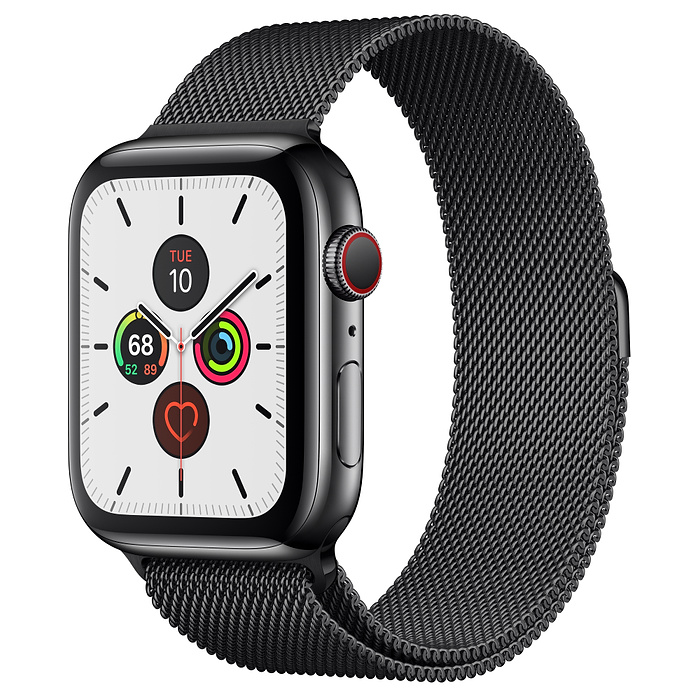 Apple Watch Series 5 44mm GPS + Cellular Space Black Stainless Steel Case Space Black Milanese Loop