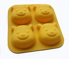 Khuôn Silicone 4 Lỗ Gấu (15.5*13.5*3.4 cm,Lỗ: 6.5*5.5*3 cm)